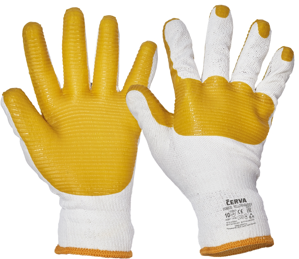 YELLOWHAMMER rukavice povrstvené latexem - - - vel.9-10
